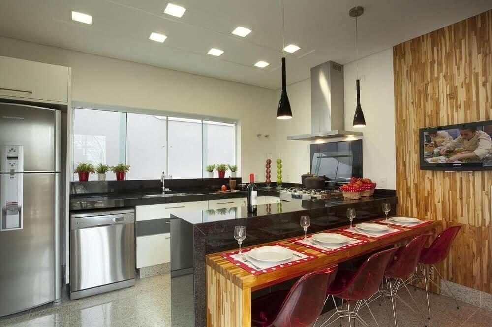 Luminária de led para cozinha e pendentes pretos