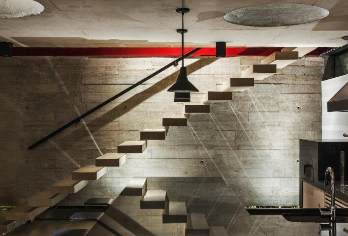 Modelos de escadas com degraus flutuantes Projeto de FC Studio