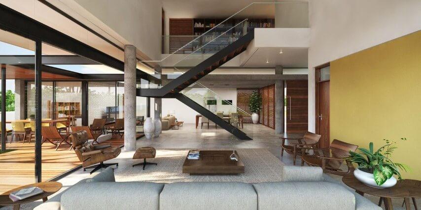 Modelos de escadas em U de madeira Projeto de Martins Lucena