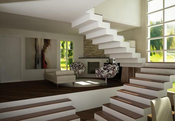 Modelos de escadas em U e linear Projeto de Katerine de Fante