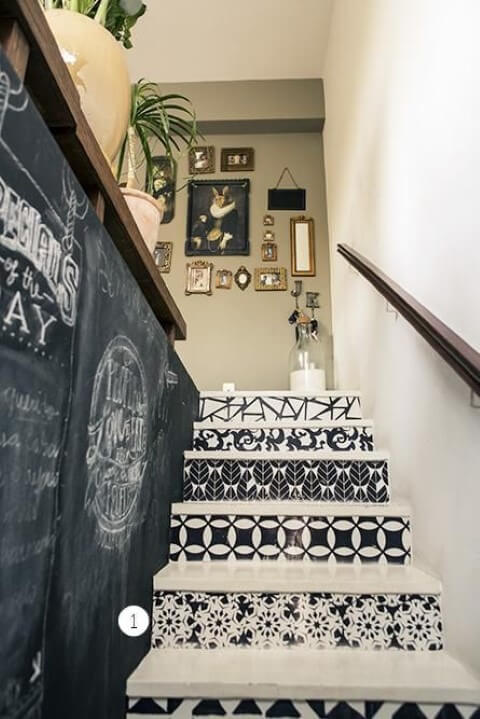 Modelos de escadas linear decorada com tinta lousa na parede Projeto de Casa Aberta