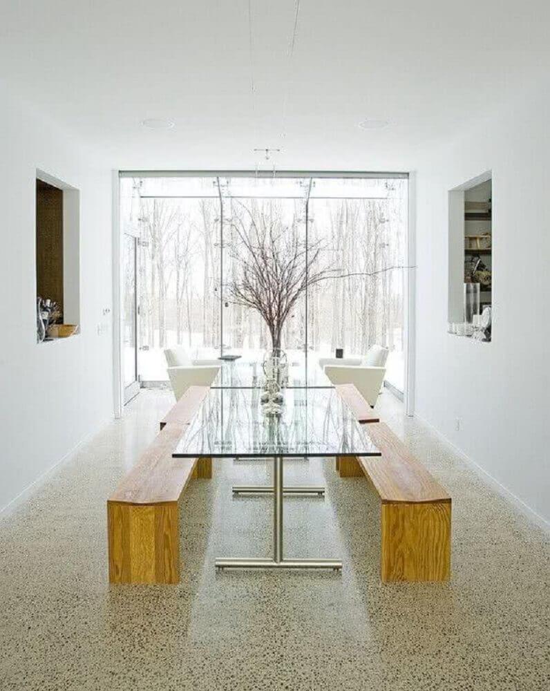 Modelos de mesa de vidro com bancos de madeira