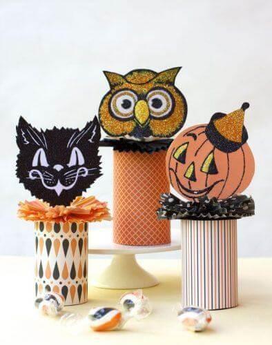 Personagens de Halloween feitos com base de papel higiênico. Fonte: Pinterest