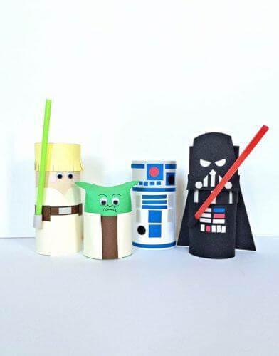 Personagens do Star Wars feitos de artesanato com papel higiênico. Fonte: Pinterest