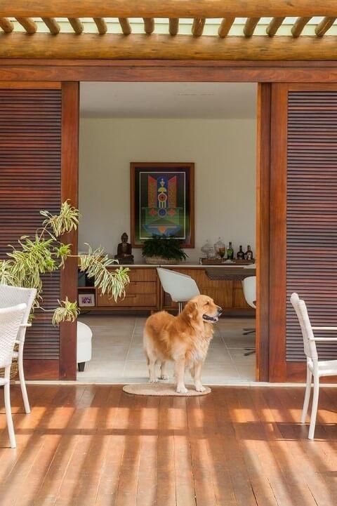 Porta de correr de madeira para varanda Projeto de SQ Arquitetos Associados