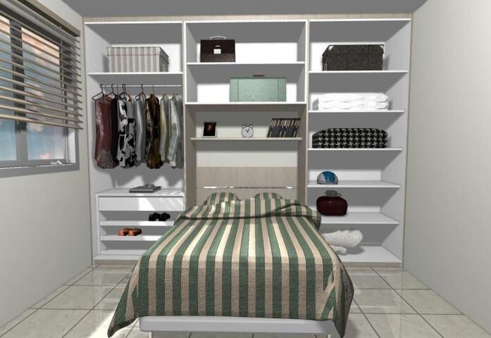 Quarto planejado de casal com armário aberto Projeto de Daniela Saad