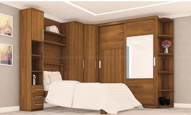 Quarto planejado de solteiro com guarda-roupa planejado com prateleiras e nichos Projeto de LojasKD