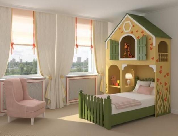 Quarto planejado infantil com cama de casinha