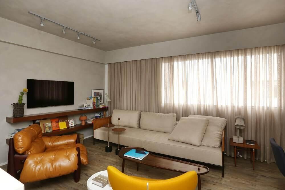 Sofá cinza para sala de estar