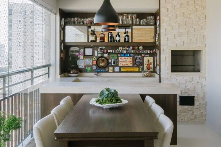 Varanda com churrasqueira com revestimento 3D Projeto de Bordin Soares