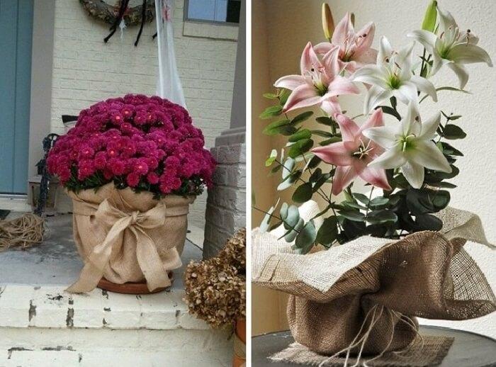 Vasos de plantas com base feita de juta