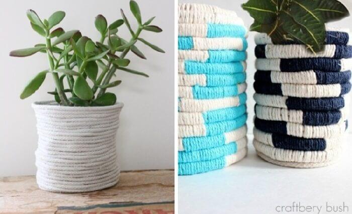 Vasos de plantas feito com linhas coloridas