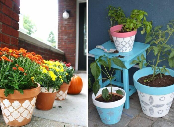 Vasos de plantas feitos com stencil