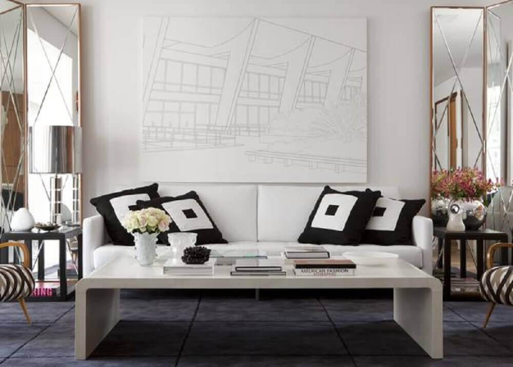 almofadas grandes para sofá branco