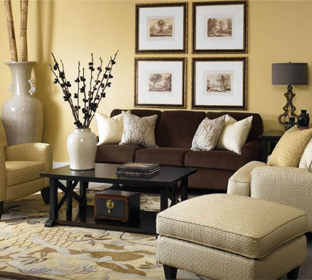Bedroom Neutral Color Schemes Black And White Interior Design Bedroom Bedroom Chairs At Target Bedroom Decor Gray And Yellow: Almofadas Para Sofá Marrom: Como Escolher +45 Modelos