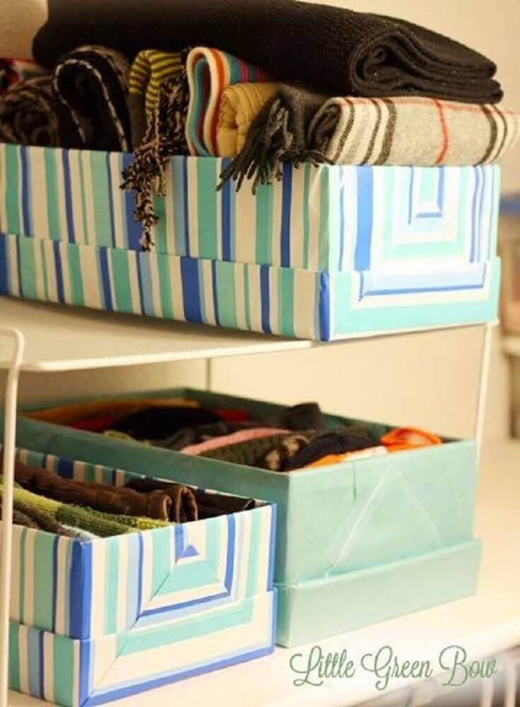 artesanato com caixa de sapato para organização