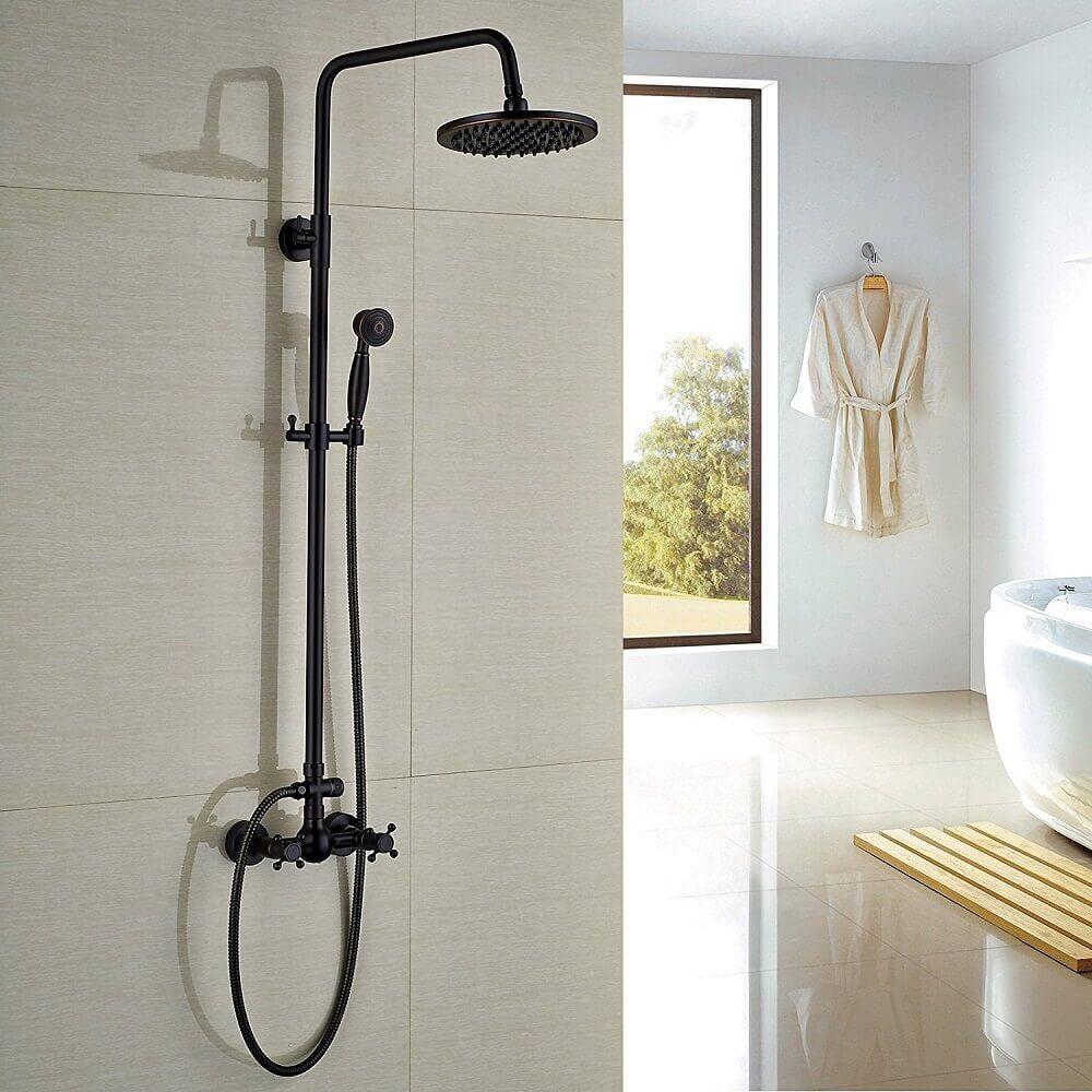 banheiro com chuveiro retrô preto