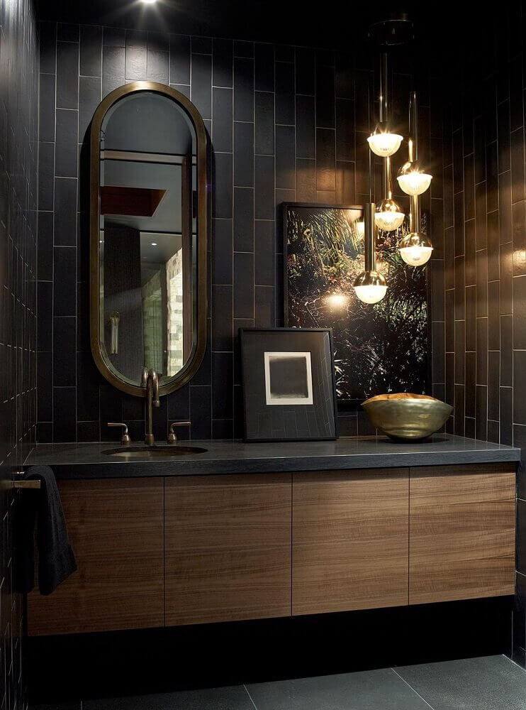 banheiro preto luxuoso