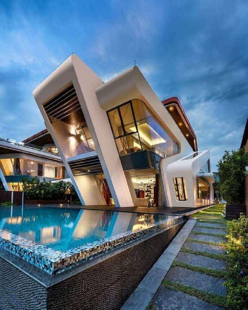 casa de rico com fachada moderna
