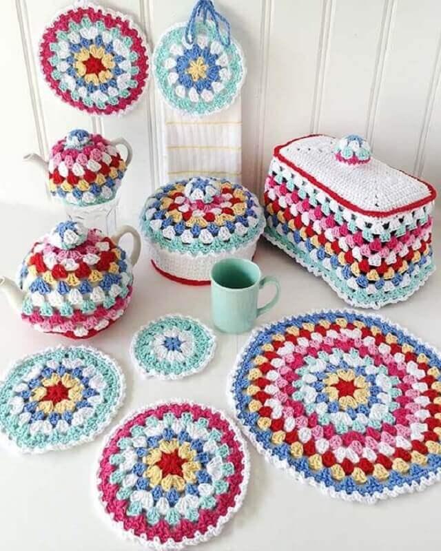 colorido Jogo de crochê para cozinha
