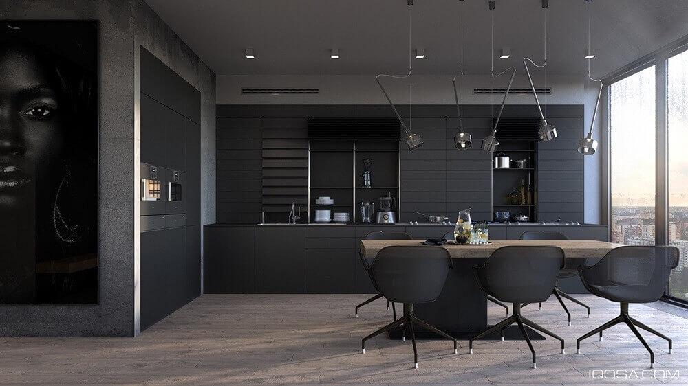 cozinha planejada preta luxuosa