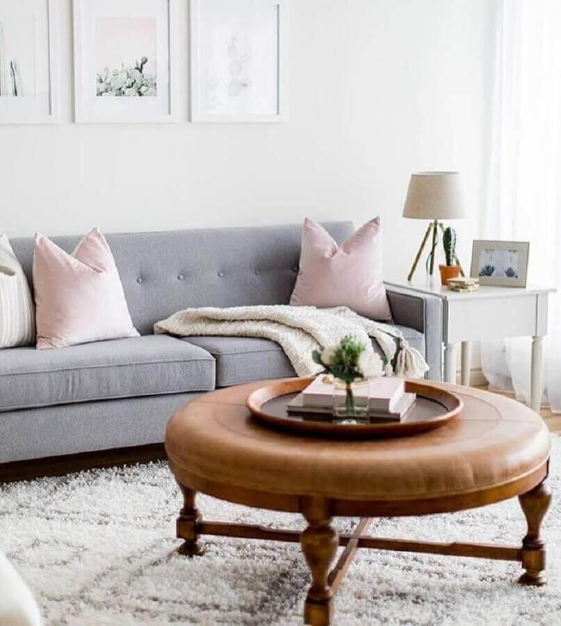 decoração clean com almofadas para sofá cinza Foto Pinterest