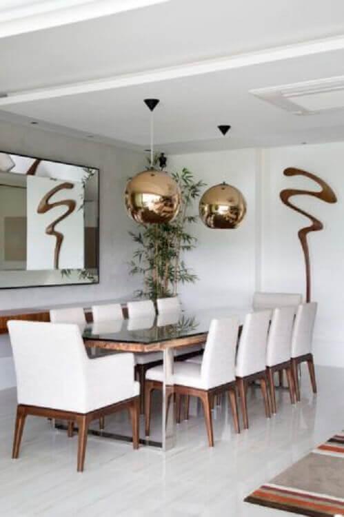 decoração clean com espelho para sala de jantar moderna Foto Conexão Decor