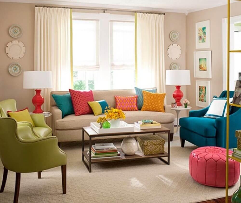 decoração com Almofadas grandes para sofá