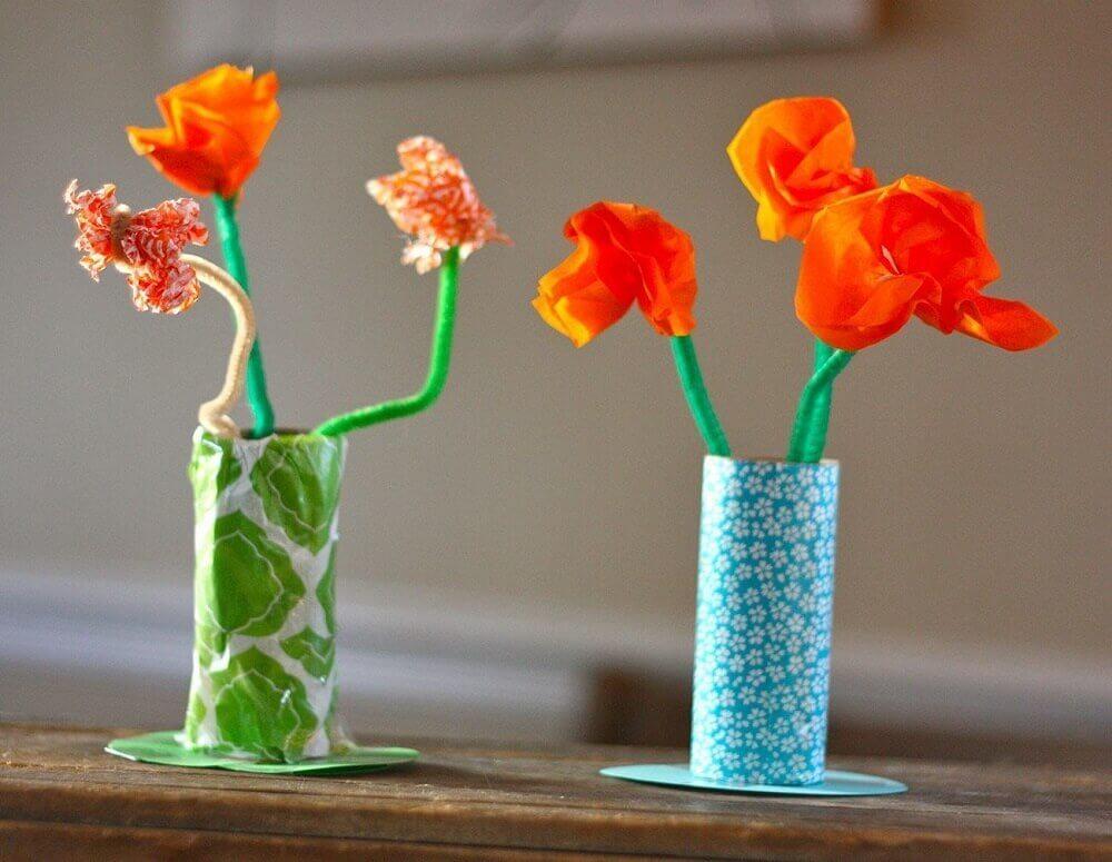 decoração com artesanato com rolo de papel higiênico