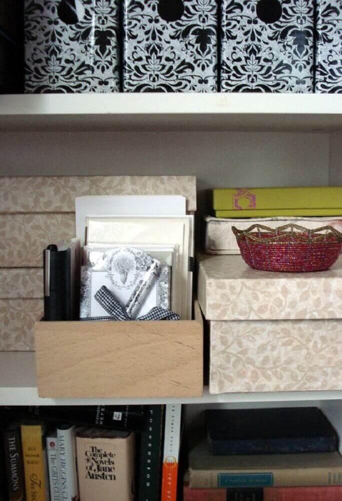 decoração com caixa de sapato para organização