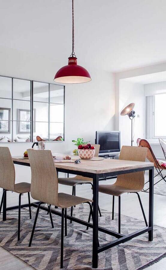 decoração com espelho para sala de jantar simples Foto Pinterest