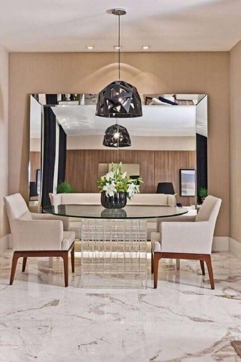 decoração com espelho para sala de jantar sofisticada