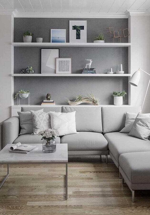 decoração de sala cinza e branco moderna  Foto Pinterest