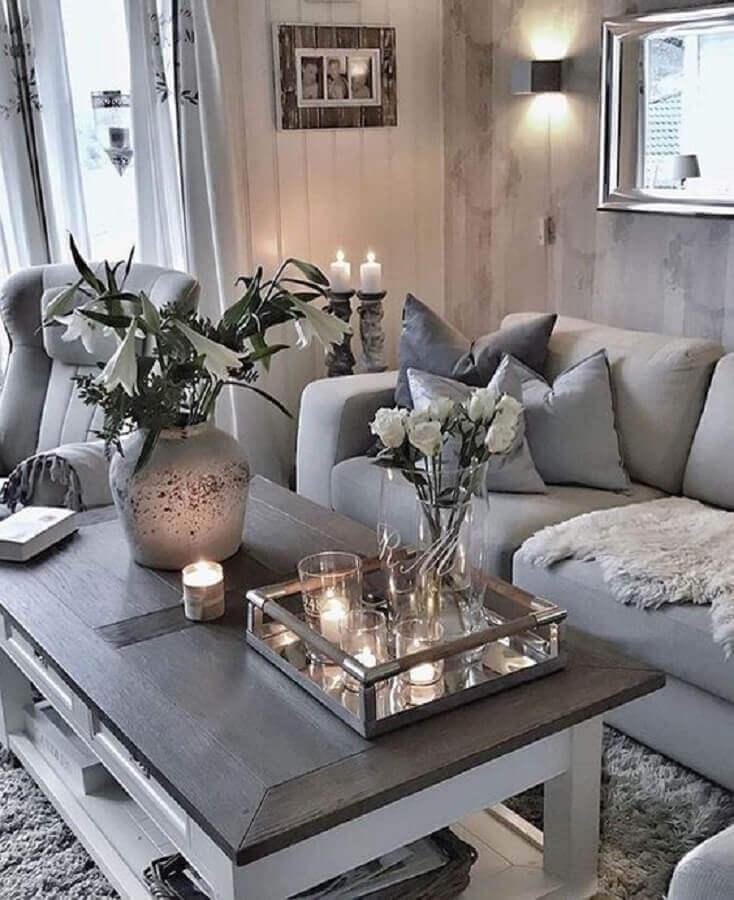 decoração de sala cinza