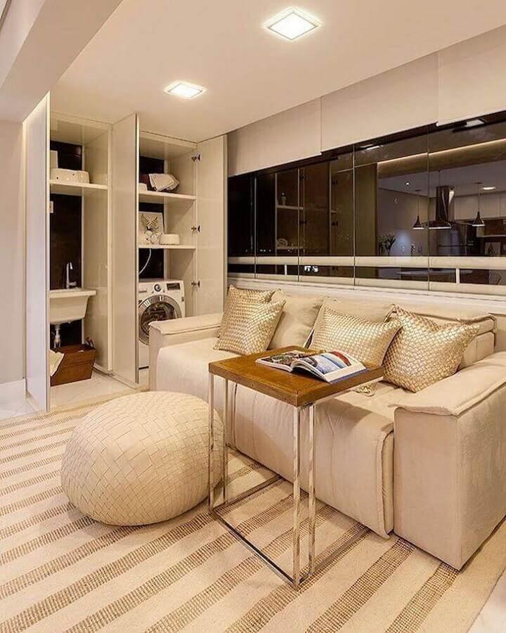 decoração em cores neutras com almofadas para sofá Foto Monise Rosa