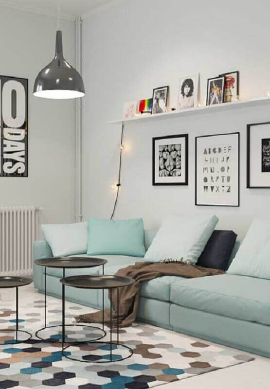 decoração minimalista com almofadas para sofá azul claro Foto Otimizi
