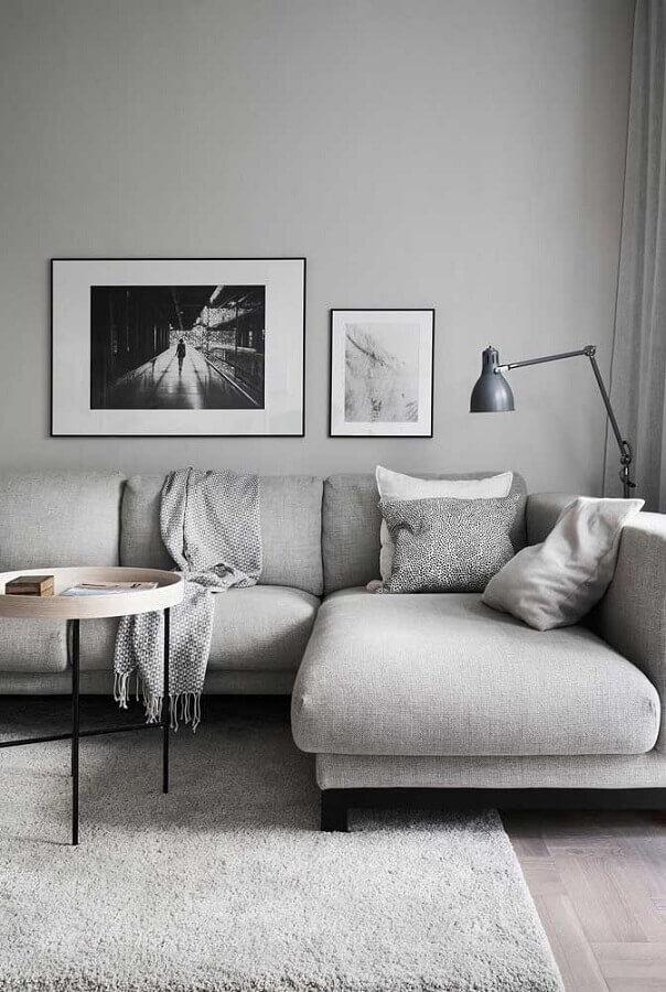 decoração minimalista para sala cinza claro  Foto Futurist Architecture