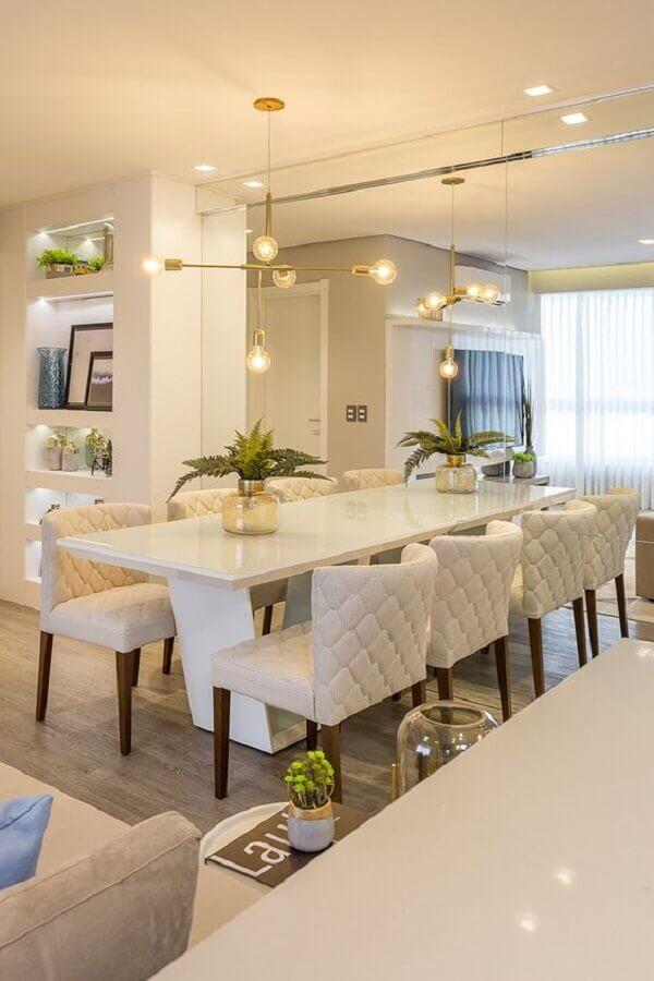 decoração moderna e sofisticada com espelho para sala de jantar Foto Juliana Agner Arquitetura