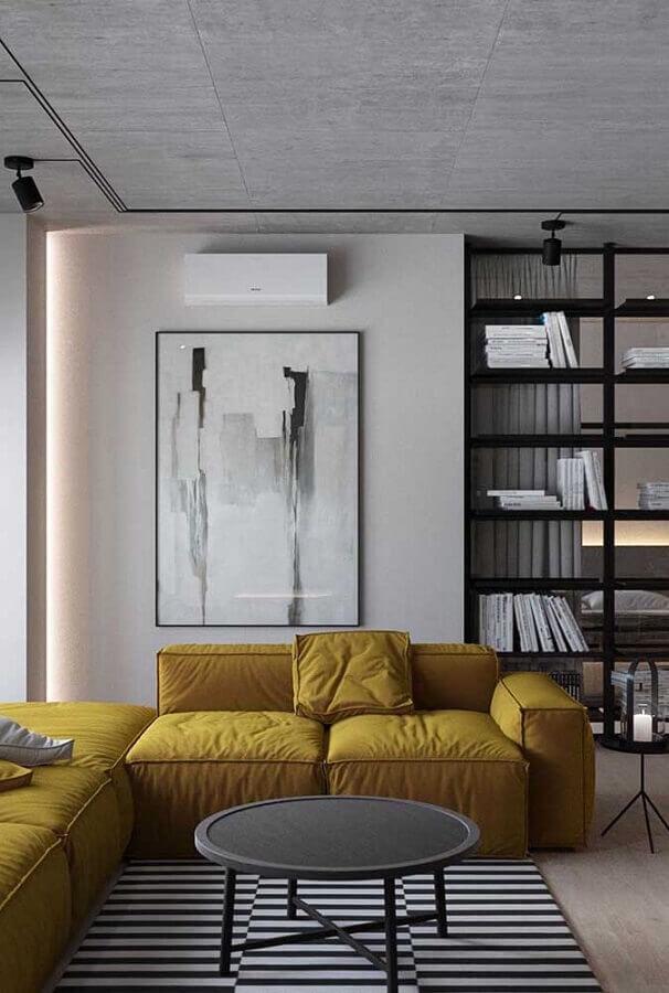 decoração moderna para sala cinza com sofá amarelo Foto Futurist Architecture