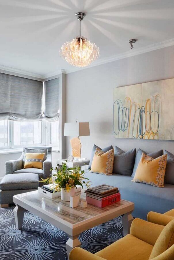 decoração para sala cinza e amarelo Foto Pinterest