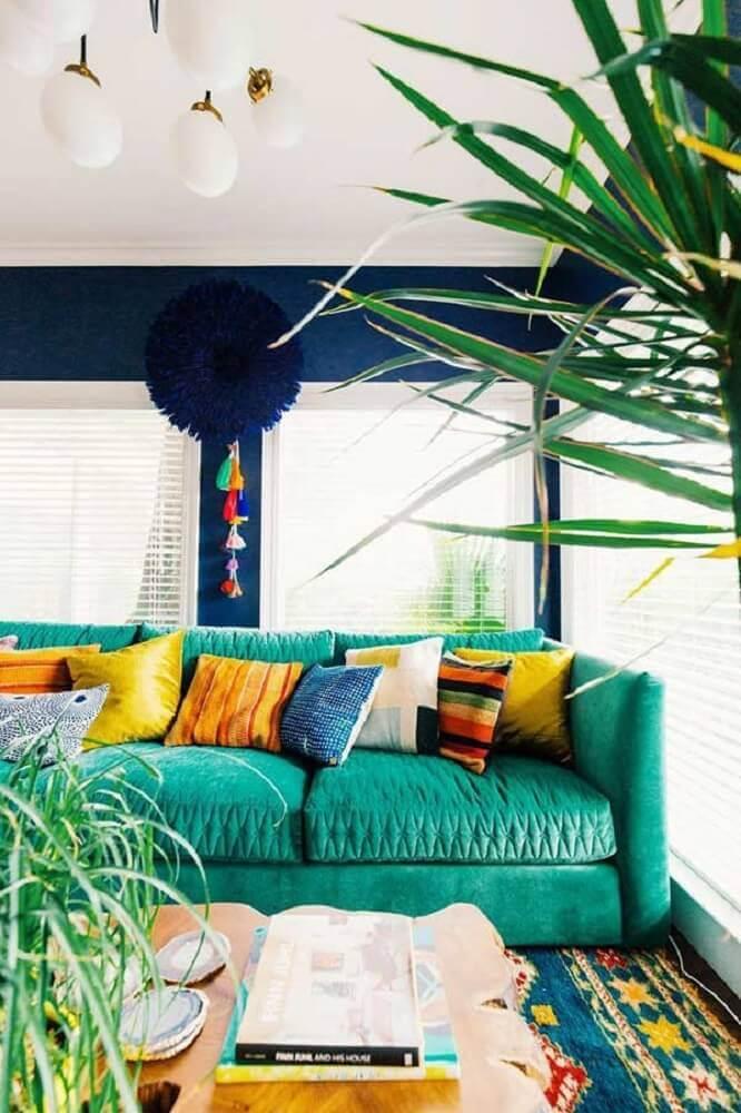 decoração sala com almofadas coloridas para sofá