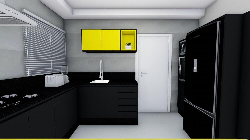 decoração de cozinha compacta - cozinha preta e amarela