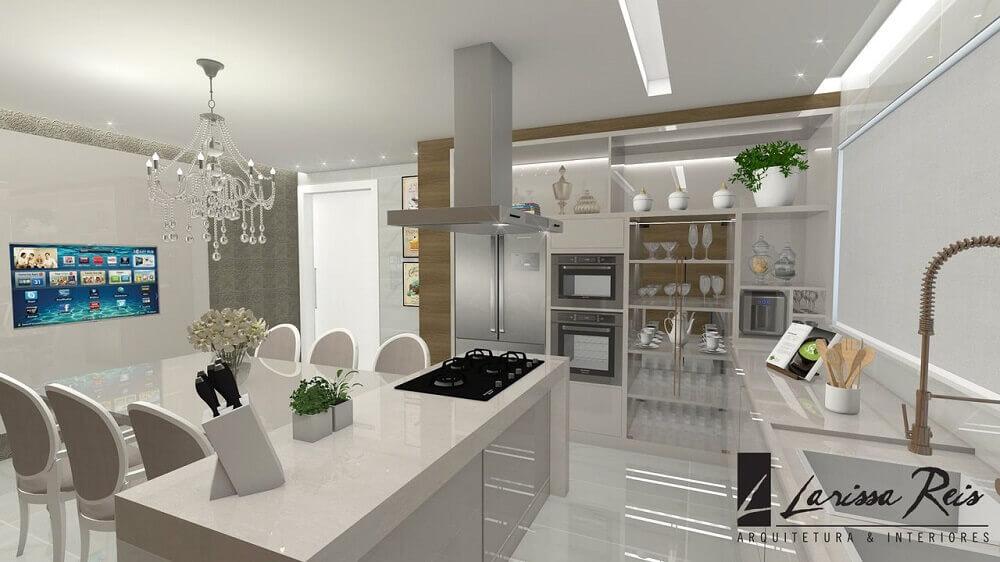 Inspiração de cozinhas planejadas modernas em tons claros