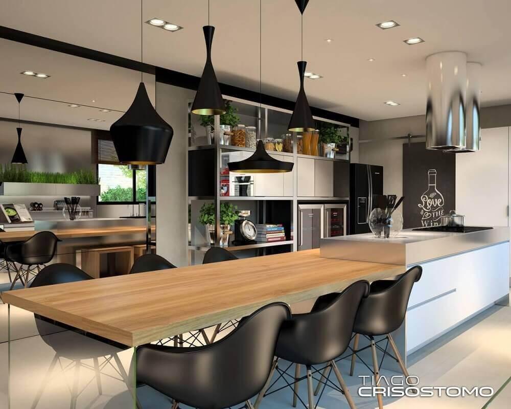 Decoração com vários formatos de luminária pendente para cozinha
