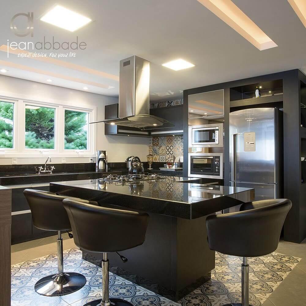 Decoração de cozinha preta planejada