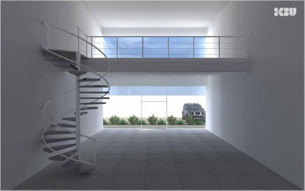 Decoração com escada espiral simples