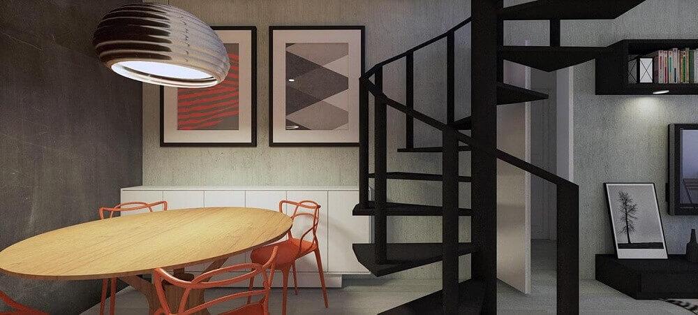 Decoração de sala de jantar com escada caracol preta