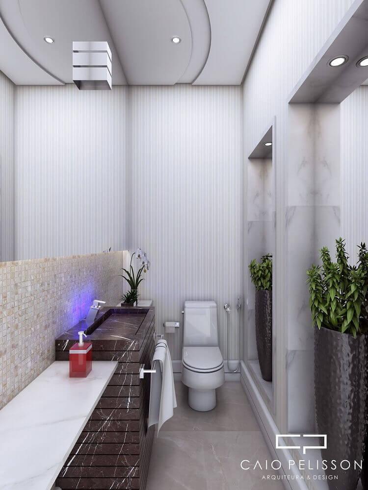 decoração banheiro com vasos de plantas