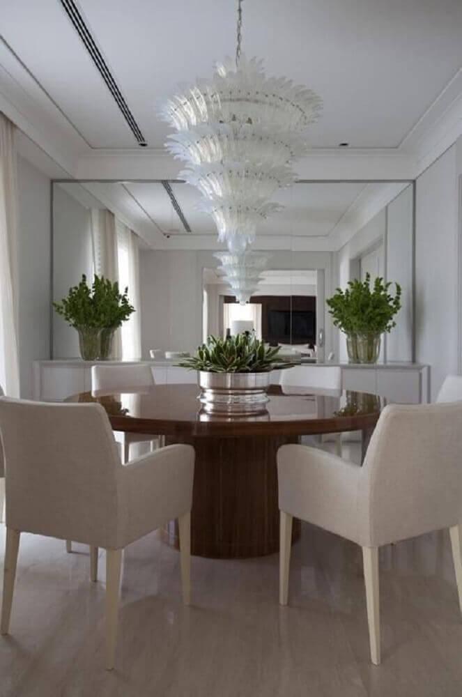 decoração com espelho para sala de jantar