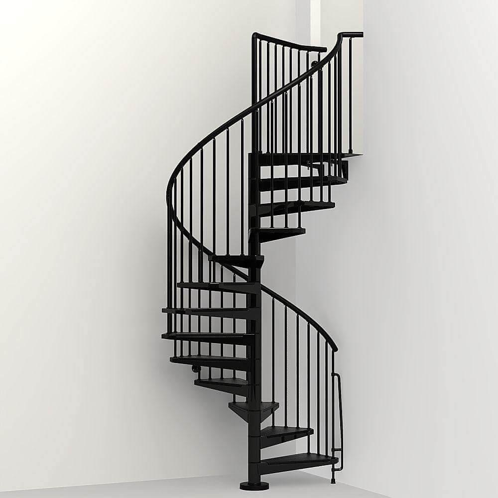 escada espiral com linhas retas para ambientes com estilo minimalista
